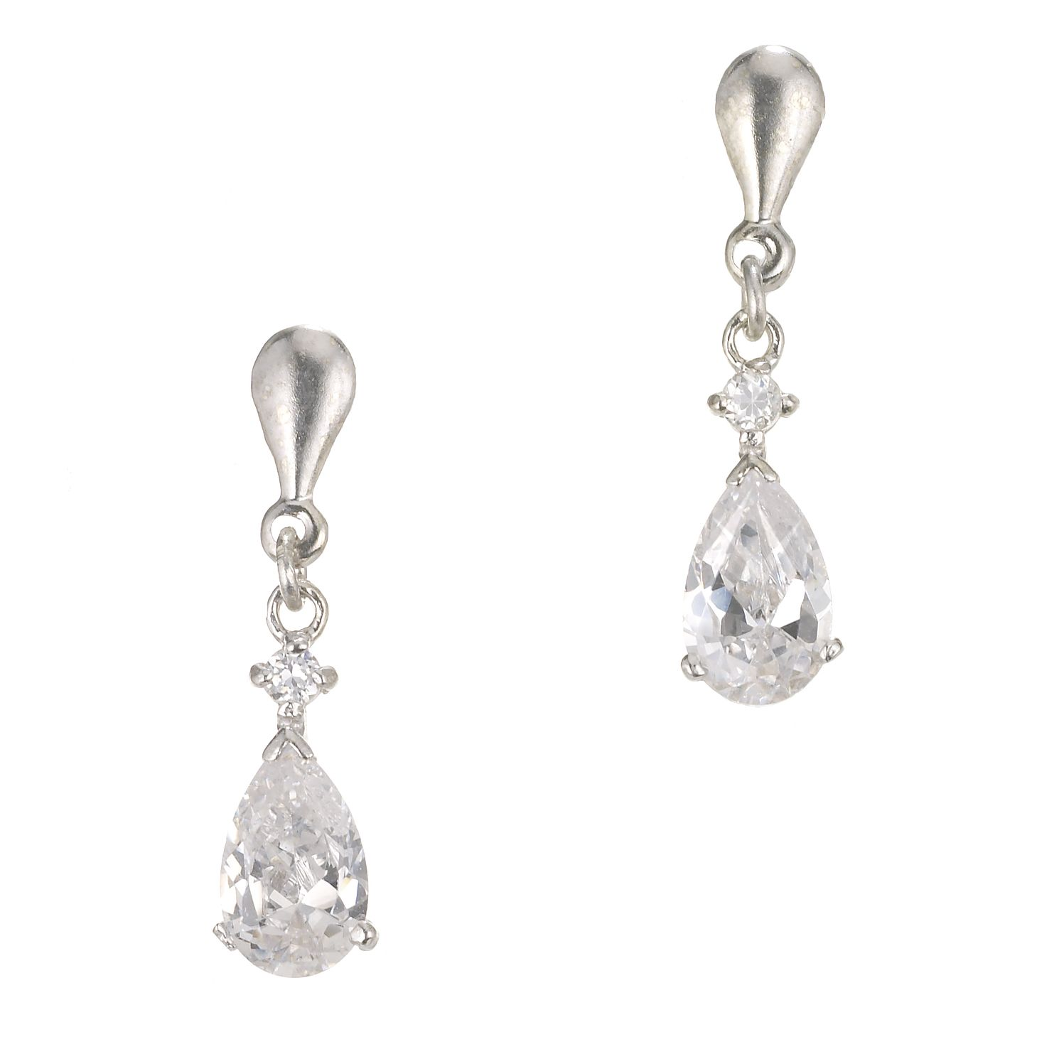 9ct White Gold Cubic Zirconia Drop Earrings - Product number 5339464