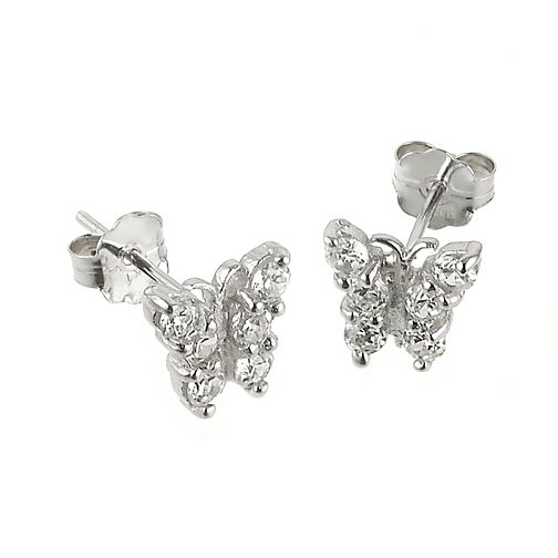 9ct White Gold Cubic Zirconia Butterfly Stud Earrings - Product number 5340071
