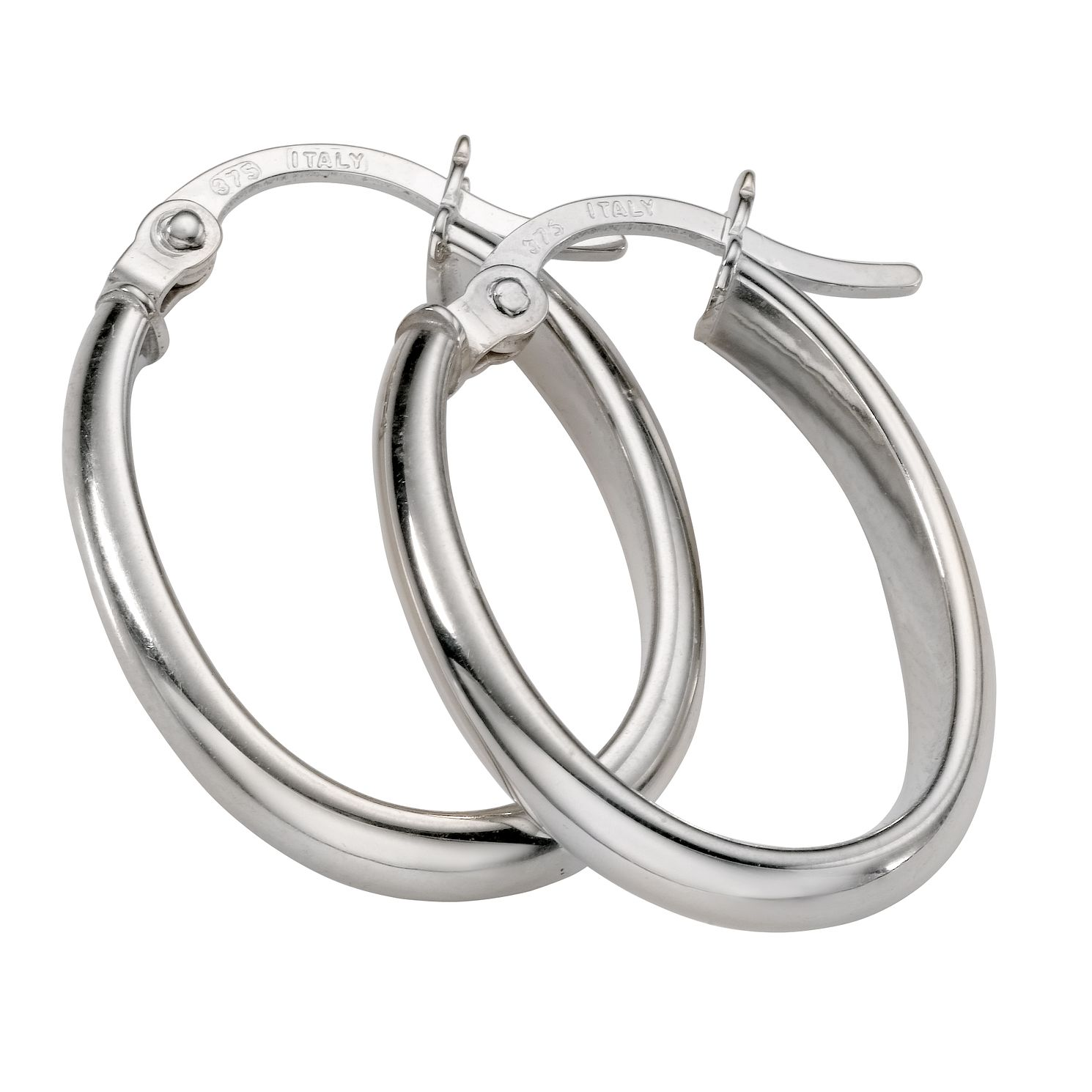 9ct White Gold Oval Creole Earrings - Product number 5343844