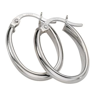9ct White Gold Oval 16X11mm Hoop Earrings - Product number 5343844