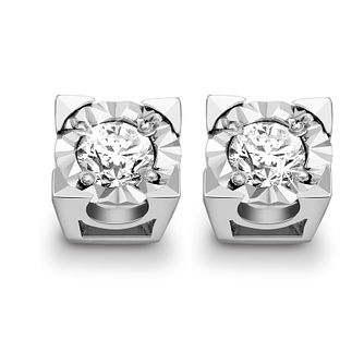 9ct White Gold 1/4ct Diamond Stud Earrings - Product number 5369614
