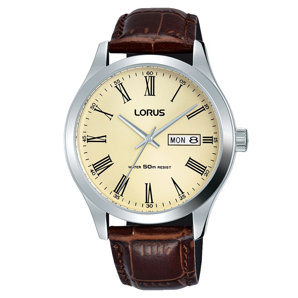 Lorus Men's Brown Padded Leather Strap Watch - Product number 5380243