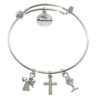 Cailin Stainless Steel Holy Communion Charm Expander Bangle - Product number 5384087