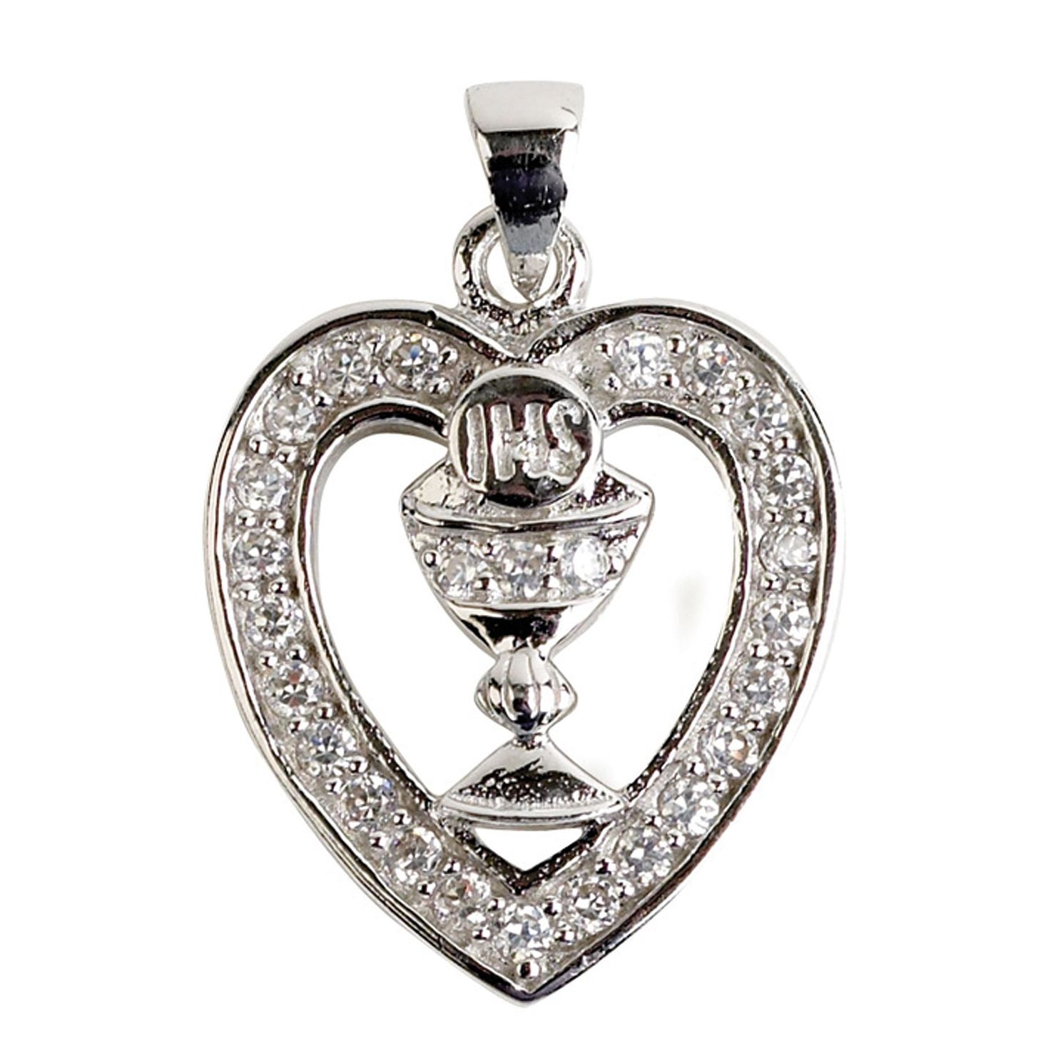 Cailin Silver Rhodium Plated Chalice Heart Pendant 15 inches - Product number 5384192
