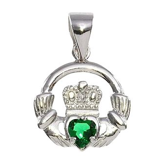 "Cailin Silver Rhodium Plated Green Cz Claddagh Pendant 18"" - Product number 5385016"