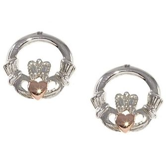 Silver Rose Gold Plated Claddagh Studs - Product number 5385032
