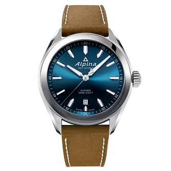 Alpina Alpiner Quartz Men's Brown Leather Strap Watch - Product number 5385466
