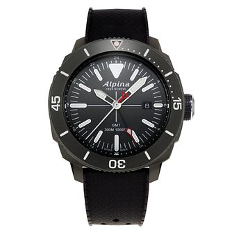 Alpina Seastrong Diver Men's Black Rubber Strap Watch - Product number 5385490