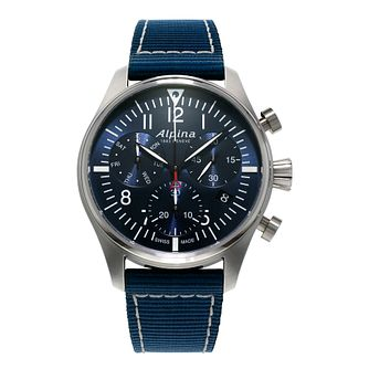 Alpina Startimer Pilot Men's Blue Nylon Strap Watch - Product number 5385679