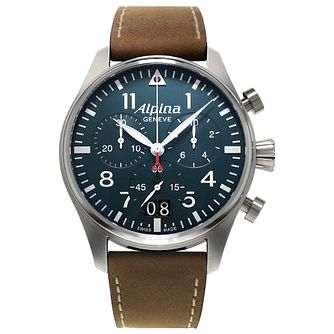 Alpina Startimer Pilot Men's Brown Leather Strap Watch - Product number 5385970