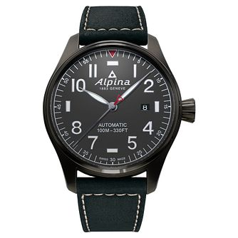 Alpina Startimer Pilot Auto Men's Black Leather Strap Watch - Product number 5386012