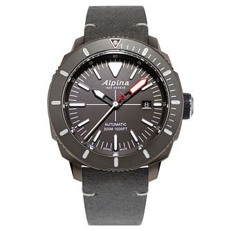 Alpina Seastrong Diver 300 Men's Grey Leather Strap Watch - Product number 5386055