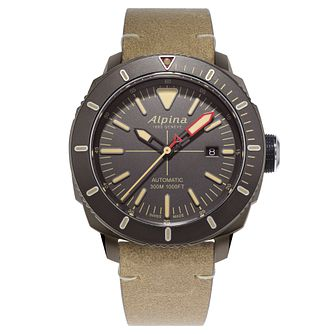 Alpina Seastrong Diver 300 Men's Brown Leather Strap Watch - Product number 5386071