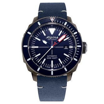 Alpina Seastrong Diver 300 Men's Blue Leather Strap Watch - Product number 5386136