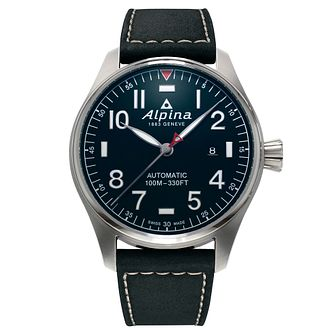 Alpina Startimer Pilot Automatic Black Leather Strap Watch - Product number 5386195