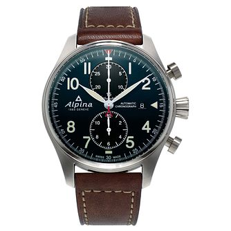 Alpina Startimer Pilot Chrono Auto Men's Leather Strap Watch - Product number 5386373