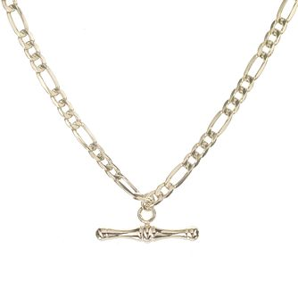 9ct Gold 18 inches Figaro T-bar Necklace - Product number 5387795