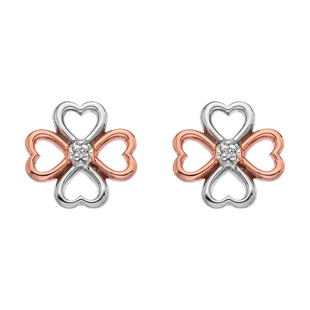 Hot Diamonds Silver Rose Gold Tone Diamond Earrings - Product number 5391121