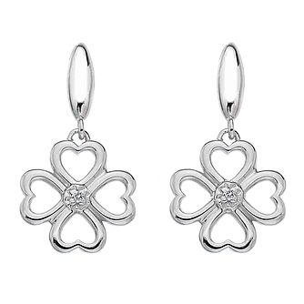 Hot Diamonds Lucky in Love Silver & Diamond Drop Earrings - Product number 5391156