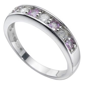 9ct white gold pink sapphire and diamond ring - Product number 5400252