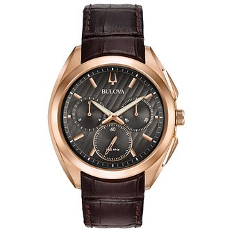 Bulova Curv Men's Chronograph Rose Gold Plated Strap Watch - Product number 5402956