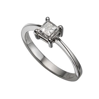 Platinum 1/2ct princess cut diamond solitaire ring - Product number 5404215
