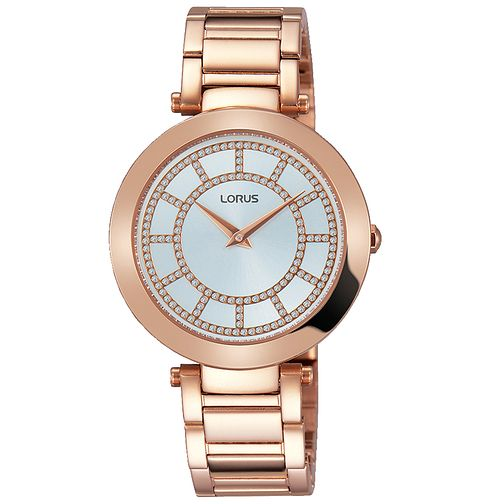 Lorus Ladies' Stone Set Rose Gold-Plated Bracelet Watch - Product number 5410029