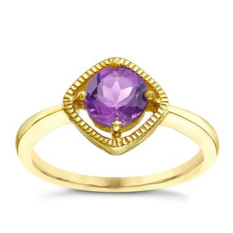 9ct Gold Amethyst Milgrain Detail Ring - Product number 5410460