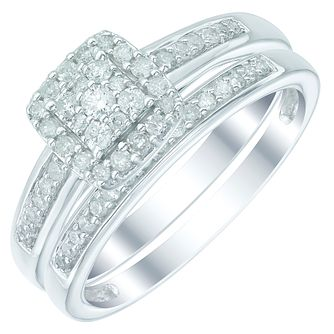9ct White Gold 1/3ct Diamond Perfect Fit Bridal Set - Product number 5412595
