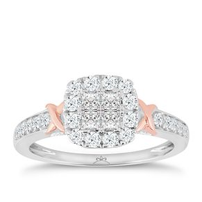 Princessa 9ct White & Rose Gold 2/3ct Diamond Ring - Product number 5414989