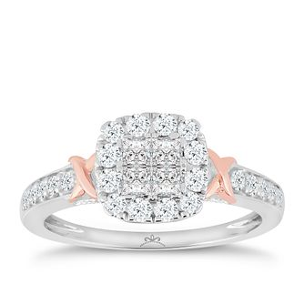 Princessa 9ct White & Rose Gold 0.66ct Diamond Ring - Product number 5414989