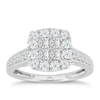 Princessa 9ct White Gold 1 Carat Diamond Ring - Product number 5424356