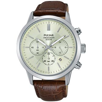 Pulsar Men's Brown Leather Strap Watch - Product number 5427274
