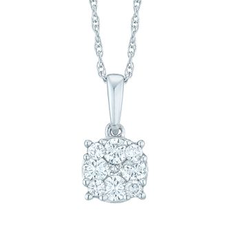 9ct White Gold 0.20ct Total Diamond Cluster Pendant - Product number 5427630