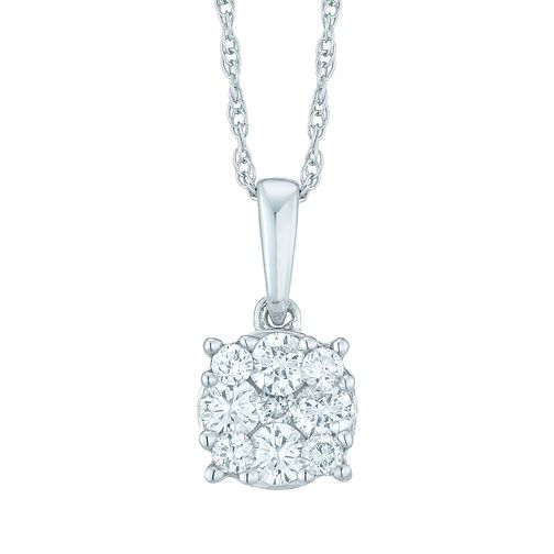 9ct White Gold 1/5 Carat Diamond Cluster Pendant - Product number 5427630