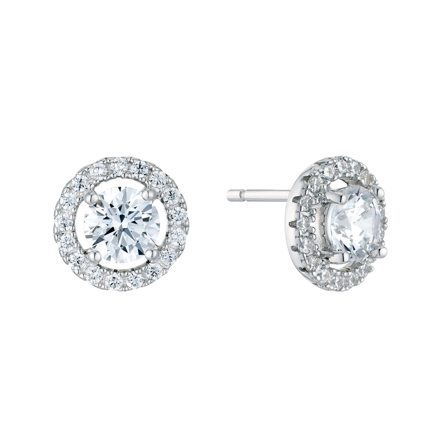 Silver Cubic Zirconia Halo Stud Earrings - Product number 5427770