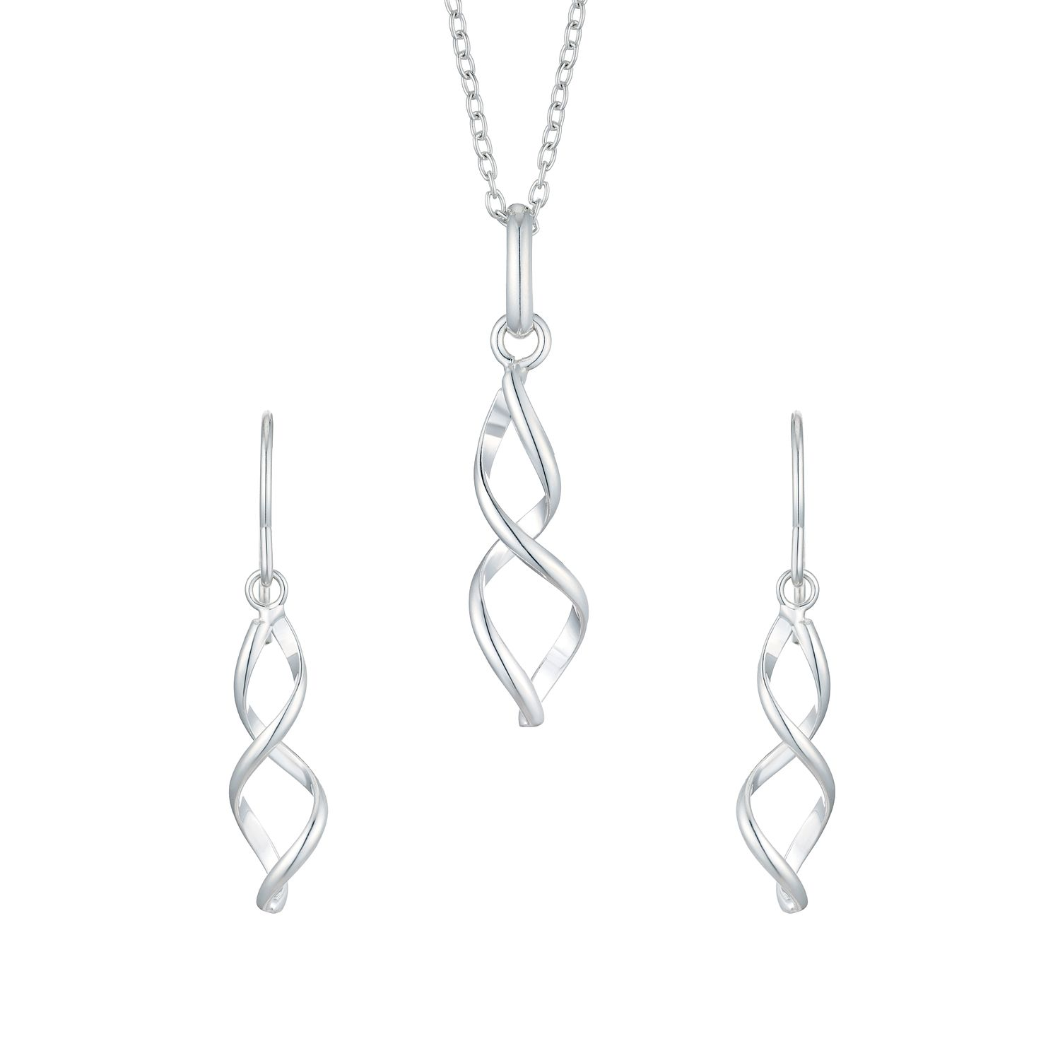 Silver Twist Earrings & Pendant Set - Product number 5427789