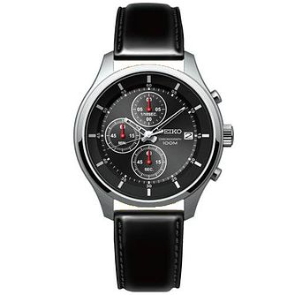 Seiko Gent's Stainless Steel Black Leather Strap Watch - Product number 5427916