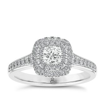 The Diamond Story 18ct White Gold 1/2ct Diamond Halo Ring - Product number 5428513