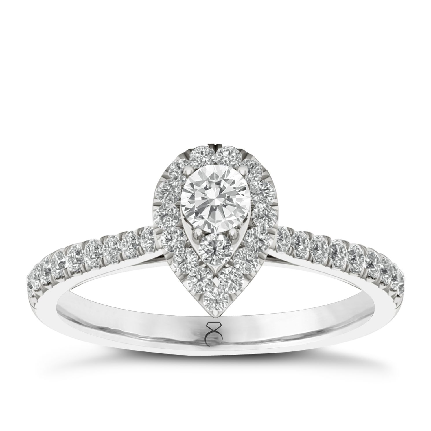 The Diamond Story 18ct White Gold 1/2ct Diamond Pear Ring - Product number 5428688