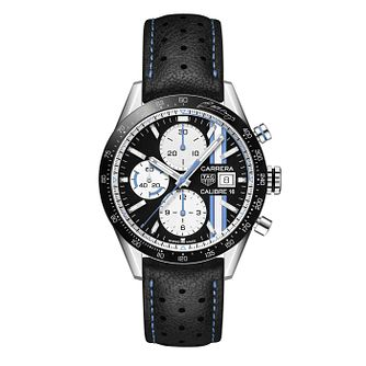 TAG Heuer Carrera Men's Black Leather Strap Watch - Product number 5430658