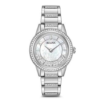 Bulova Turnstyle Ladies' Stone Set Mother Of Pearl Watch - Product number 5446945
