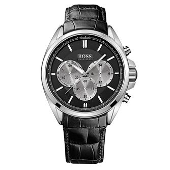 BOSS Driver Men's Black Leather Strap Watch - Product number 5447550