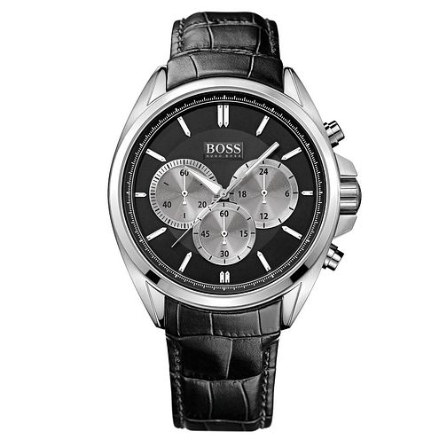 Hugo Boss Driver Men's Black Leather Strap Watch - Product number 5447550