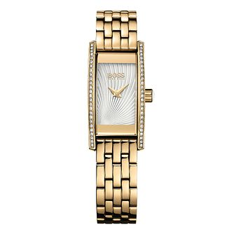 BOSS Ladies' Stone Set Gold Plated Bracelet Watch - Product number 5450616