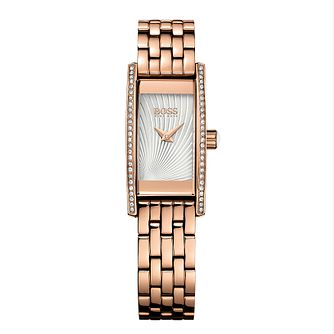 BOSS Ladies' Stone Set Rose Gold Plated Bracelet Watch - Product number 5450624