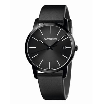 Calvin Klein City Men's Black Leather Strap Watch - Product number 5465982
