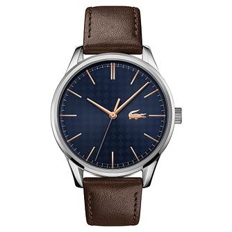 Lacoste Men's Brown Leather Silver And Blue Dial Strap Watch - Product number 5476704