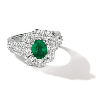 Le Vian Platinum Emerald & Diamond Flower Halo Ring - Product number 5511240