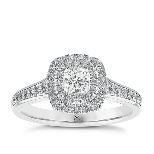 The Diamond Story 18ct White Gold 1/2ct Diamond Halo Ring - Product number 5511798